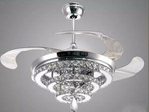 LED Kristal Avize Fan Işıkları Görünmez Fan Kristal Işıklar Oturma Odası Yatak Odası Restoran Modern Tavan Fanı Uzaktan Kumanda ile 42 Inç