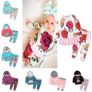 مخطط طباعة قطعتين ملابس الرضع مجموعة أطفال الشتاء الملابس مقنعين والسراويل الدعاوى الفتيات الفتيان ملابس الطفل زهرة فتاة 893
