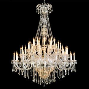 Grand lustre d'éclairage moderne moderne grande lustres Villa hall d'entrée Hôtel cristal pendentif grande lustre en cristal