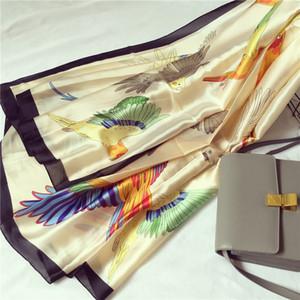 Sciarpa di seta uccello di marca Moda donna morbido Foulard pavone turco naturale twill scialli di seta sciarpe accessori femminili 2017
