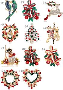 Árbol de Navidad Santa Broches Pin Rhinestone Multicolor Crystal Fiesta de Navidad Traje Broche Breastpin Hombre Mujeres Banquete Joyería de Regalo de Navidad