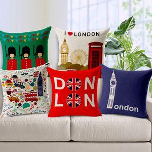 London Tower Coches Imprimir Cojín Europa Viajar Ropa de almohada cubierta Habitación Sala Sofá Decoración almohadilla de tiro del Caso