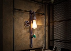American Antique Water Pipe Wall Light Fixtures Edison Industrial Antique Wall Aplique Iluminación para el hogar Retro Loft Lámpara de pared de hierro Lamparas