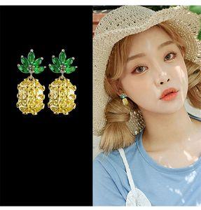 S925 Sterling Silver Cute Pineapple Earrings Fashion Tropical Fruit Stud Earring for Women Girl Gift Hypoallergenic Wedding Jewelry