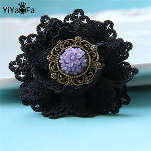 Wholesale- Handmade Gothic jewelry rose flower original design pin antique fabric brooch buckle vintage women accessories YBR-01