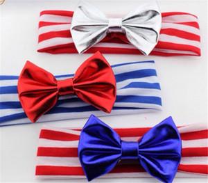 2017 Yeni Bebek Amerikan Bayrağı Kafa 4th Temmuz Bağımsızlık Günü Düğümlü Kafa Bow Amerikan Bayrağı Saç Aksesuarları