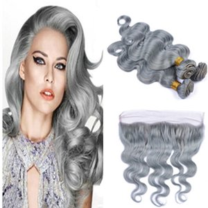 HOT Sale Silver Grey Human Hair Extensions 3 Bundles With Frontal Gray Brazilian Human Hair 100% Virgin Unprocess Silver Grey Lace Frontal