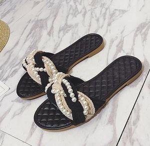 2017NEW Marka Sandalet Kadınlar Düz Terlik Çözgü Dizeleri Tasarımcı Inci Plaj Sandalet Bayanlar Kızlar Ayakkabı Yaz.