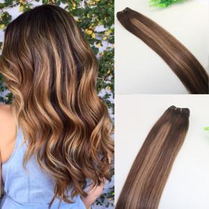 Tejido de cabello humano Color de tinte Ombre Extensiones de paquete de trama de cabello virgen brasileño Dos tonos 4 # Marrón a # 27 Rubio
