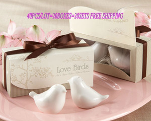 40pcs lot(20boxes) Love birds ceramic Salt and Pepper shaker Wedding Favors for Cheapest Wedding gift and Party Favors Free shipping