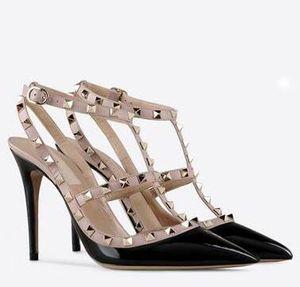 2017 Frauen valentine T-strap über Spann Hochzeit Sandalen Nude Fashion Ankle Straps Nieten Schuhe Sexy High Heels Braut valen Schuhe