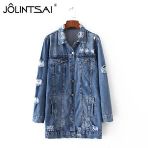 All'ingrosso- Donna Casual Street Style Jeans Jacket 2017 Fashion Vintage Frayed Mid-Length Denim Jacket monopetto jaqueta femminile