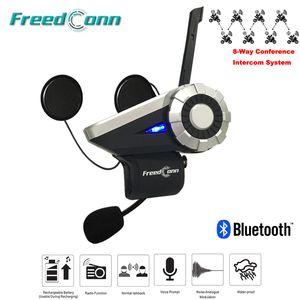 Freedconn 1500 M 8-Way Full Duplex Motocicleta Grupo Sistema de Conversação BT Interfone FM Rádio T-Rex Bluetooth Capacete Interfone Fones De Ouvido