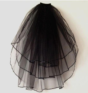 Toptan-Katmanlı 3 Siyah Fildişi Beyaz Şerit Kenar Düğün Veils Dirsek Uzunluğu Gelin Peçe ile Tarak