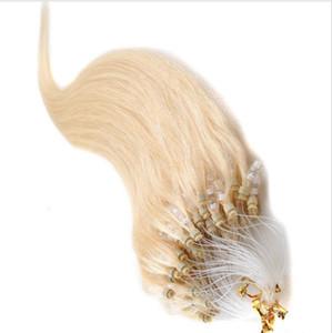 """Großhandels7A Grad remy indisches Haar 16 """"-26"""" 1g / s 100g / set # 60 blonde Schleife / Mikroring-Haar-Verlängerung, 100% Menschenhaar-Erweiterungen dhl geben frei"""