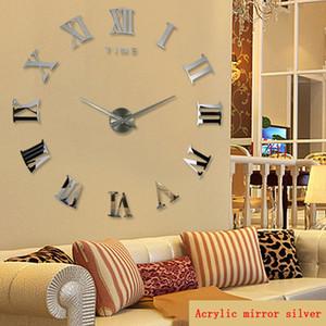 Wholesale-promotion 2016 new home decor large roman mirror fashion modern Quartz clocks living room diy wall clock watch free shipping