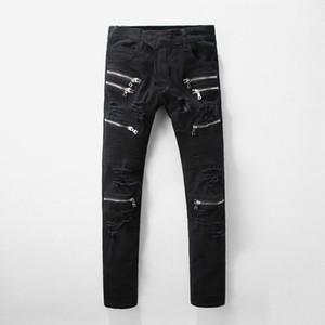 Famosa marca de diseño del streetwear del estilo de los hombres de los pantalones vaqueros Fear Of God azul jeans rasgados estrella del rock para hombre del mono del dril de algodón de diseño masculino de la cremallera de los pantalones