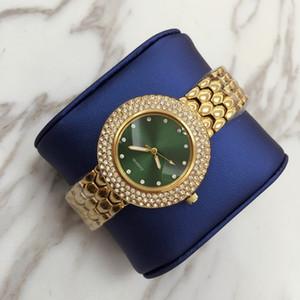 Atacado novo modelo de venda Quente de Alta Qualidade de Luxo mulheres de ouro assistir com diamante cheio Moda senhora vestido de relógio Mulheres assistir famoso dropshipping