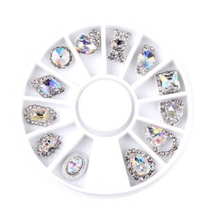 Nuevos 12pcs / caja de uñas de arte del Rhinestone del encanto Borrar AB Clavo de aleación de Cristal Mix 3D Decoración de ruedas diseños de manicura Herramientas de Venta