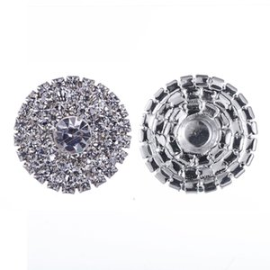 50pcs 25mm Round Rhinestone Silver Button Flatback Decoration Crystal Buckles For Baby Hair Accessories