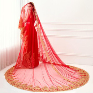 My God Gorgeous Red Muslim wedding Veil Bohemian Bridal Veils with Golden Lace Appliques Real Photo Long Veil
