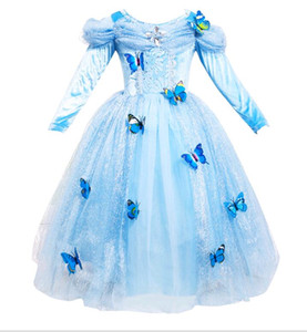 Off Shoulder Girl Dresses Blue Long Sleeve Princess Cinderella Pleated Kids Party Dress Christmas Children Clothing age 3-12 Year