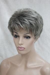 Chaude santé Super Mignon gris / gris mélange brun racine courte droite cheveux synthétiques Full Women's Wig