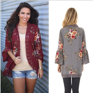2017 autumn and winter new European and American hollow lace lace stitching digital printing cardigan