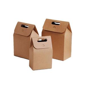 10 * 6 * 15.3 cm Hediye Kolu ile Kraft Kutu Craft Çanta Sabun Şeker Ekmek Çerez Bisküvi Ambalaj Kağıt Kutuları Ücretsiz Kargo ZA3918