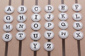 Date Femmes et Hommes Cristal Argent Métal Initial A-Z Lettre Alphabet Bouton Snap Bijoux Pour Bracelet (ajustement 18mm 20mm Snap) 26pcs