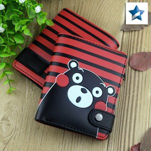 Anime Cartoon PU Short Wallet Purse with Button Printed W-Kumamon Fashion Card Holder Money Bag for Men Women Gift