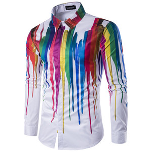 Wholesale- Hot Men Shirt 3D Fashion Creative Personality Paint Tops Casual Slim Fitness White Male Dress Shirts Streetwear Hawaiian Cloth