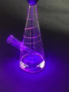 hg ультрафиолетовая апертура UFO glass bong 7 дюймов пьянящие курительные трубки нефтяная вышка 14 мм стеклянная чаша ColorfulRed Stripe Bong UFO диффузор
