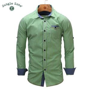 Wholesale- JUNGLE ZONE formato europeo Camicia a maniche lunghe da uomo nuovo arrivo Camicie a quadri a maniche lunghe Camicia da uomo Camicie casual di marca 106