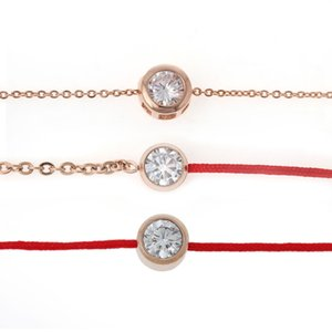 Wholesale-8SEASONS Titanium steel Cubic Zirconia rose gold plated link chain lucky red line bracelets & bangles fashion gift Rhinestone