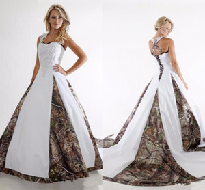 Unique 2017 Camo Wedding Dresses A Line Halter Neck Lace Appliques Plus Size Vestidos De Novia Country Camouflage Bridal Wedding Gowns