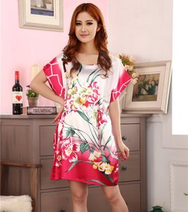 Wholesale- Summer Pink Chinese Women's Faux Silk Robe Dress Casual Bath Gown Sexy Mini Nightshirt Floral Pajamas Sleepwear One Size S0102