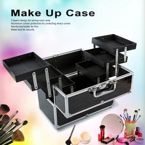 Venta al por mayor - Caja de maquillaje de 3 capas grande Organizador cosmético Caja de almacenamiento profesional que contiene herramientas de maquillaje Accesorio Negro # WFA-1232