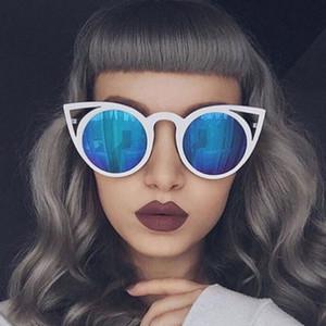 Toptan-Bayan Steampunk Güneş 2017 Kedi Göz Boy Çerçeve Güneş Gözlükleri UV400 Bayanlar Gotik Ayna Sunglass