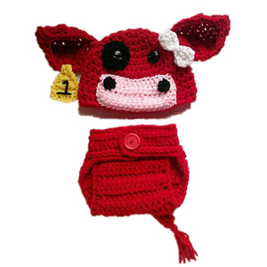Uncinetto Baby Red Cow Set, Handmade Knit Baby Boy Girl Animal Cow Beanie Set copri pannolino, neonato neonato Halloween Photo Prop Doccia regalo