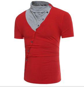 2017 New Hot men's short sleeve T-shirt pleated collar design short sleeve