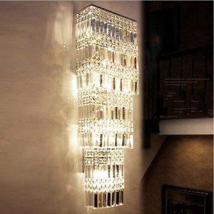 Lobby Luxo Cristal Wall Light LED Projeto Do Hotel Grande Lâmpada De Parede De Cristal Sala Arandelas Villas Penthouse Andar Corredor Iluminação LLFA