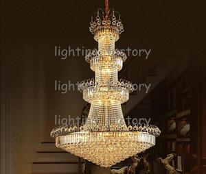 New Günstige Penthouse Floor Villa Treppen Duplex Mansion Hotel Lobby Große Wohnzimmer Lampe K9 Kristall Kronleuchter Anhänger Droplight Beleuchtung