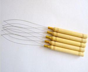 마이크로 구슬 인간 머리카락의 머리카락 확장 도구 재고에 대한 5Pcs / Lot 당겨 바늘 루프 Threader 나무 손잡이 바늘
