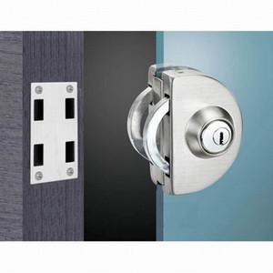 GD02SS fechadura da porta de vidro de aço inoxidável sem furo chave de desbloqueio bidirecional - Knob Frame Glass Door