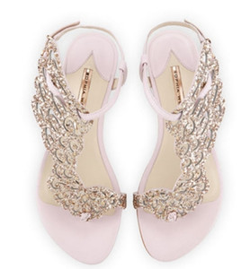 Sophia Webster Tanga Düz Sandalet Gerçek deri Bayan Gladyatörler Rhinestone Roma Stil Rahat Sandal