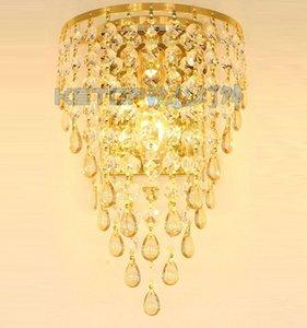Golden TV Sfondo di cristallo Egg Hanging applique da parete Camera da letto Corrispondenti Corridoio Luxury Wall Sconce europeo Soggiorno Corridoio lampada da parete