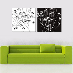 4 PC 벽에 핫 흑인과 백인 꽃 오일 페인팅 Art Canvas 사진 거실 Unframed Large HD Modular Pictures