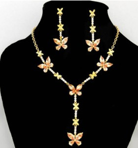 champagne color crystal butterfly set wedding bride necklace (40+extra 8cm) earings 20mm*55mmm ( ming)