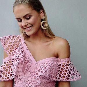 2019 neue mode damenhemd rosa ein-schulter slash neck sleeve guipure-spitze tops sexy bluse elegante marke blusas kleidung